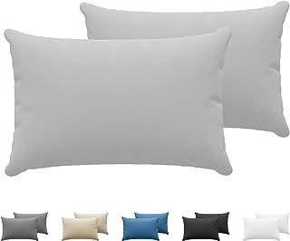 Dreamzie - Set de 2 x Taie Oreiller 40 x 60 cm - Gris - 100% Premium Coton Jersey 150gsm - Housse de Coussin Résistant et ...