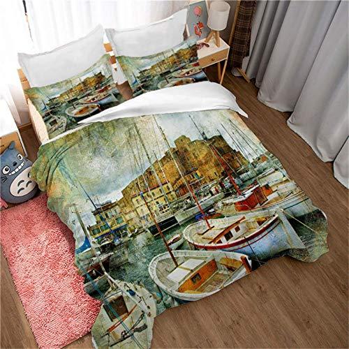 YUEWEIWEI Cubierta de edredón de la serie de paisajes naturales, lino de la cama de navegación del puerto de la impresión 3D 200x200, (1 cubierta de edredón + 2 casas de almohadas) Cubierta de edredón