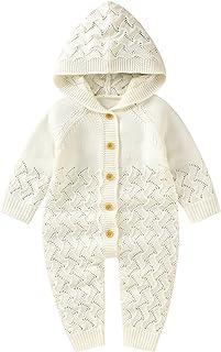 طفل الفتيات الفتيان القطن محبوك مقنع سترة رومبير بذلة تتسابق الرضع الخريف الشتاء الاصطناعية (Color : White, Size : 12M)