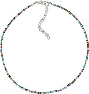 Althrorry Beaded Choker Necklace Beach Bum Colorful Seed Beaded Choker Bead Jewelry (Muti 1)