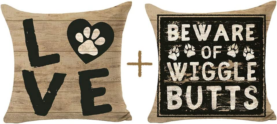 Bombing new work Pack of 2 Beware Wiggle Butts Paw Grain Inventory cleanup selling sale Gift Wood Print Love