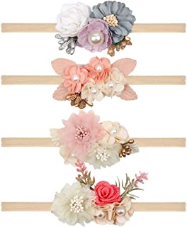 Floral Headbands For Baby Girls Lightweight Flower Nylon Elastic Hair Band For Newborn Infant Toddler