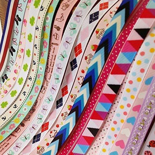 Chenkou Craft Geschenkband mit Herzen, Marienkäfer, Kuchen, Vögel, Anker, Schmetterling, 10 mm, verschiedene Farben