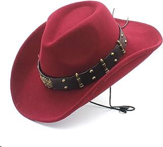 CHENTAI Women Men Wool Hollow Western Cowboy Hat for Gentleman Roll Up Brim Sombrero Cap Dad