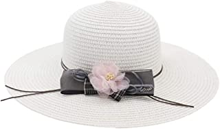 Lady's Sun hat 2019 Summer New Solid Color Loose Shuck Women's Flower Accoutrement Bowknot Beach Hat Panama Sun hat (Color : White, Size : 56-58CM)