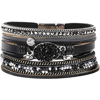 Multilayer Leather Bracelet Handmade Crystal Wrap Bangle with Magnetic Clasp Leather Wrap Bracelet Bohemian Jewelry Gift for Women and Girl