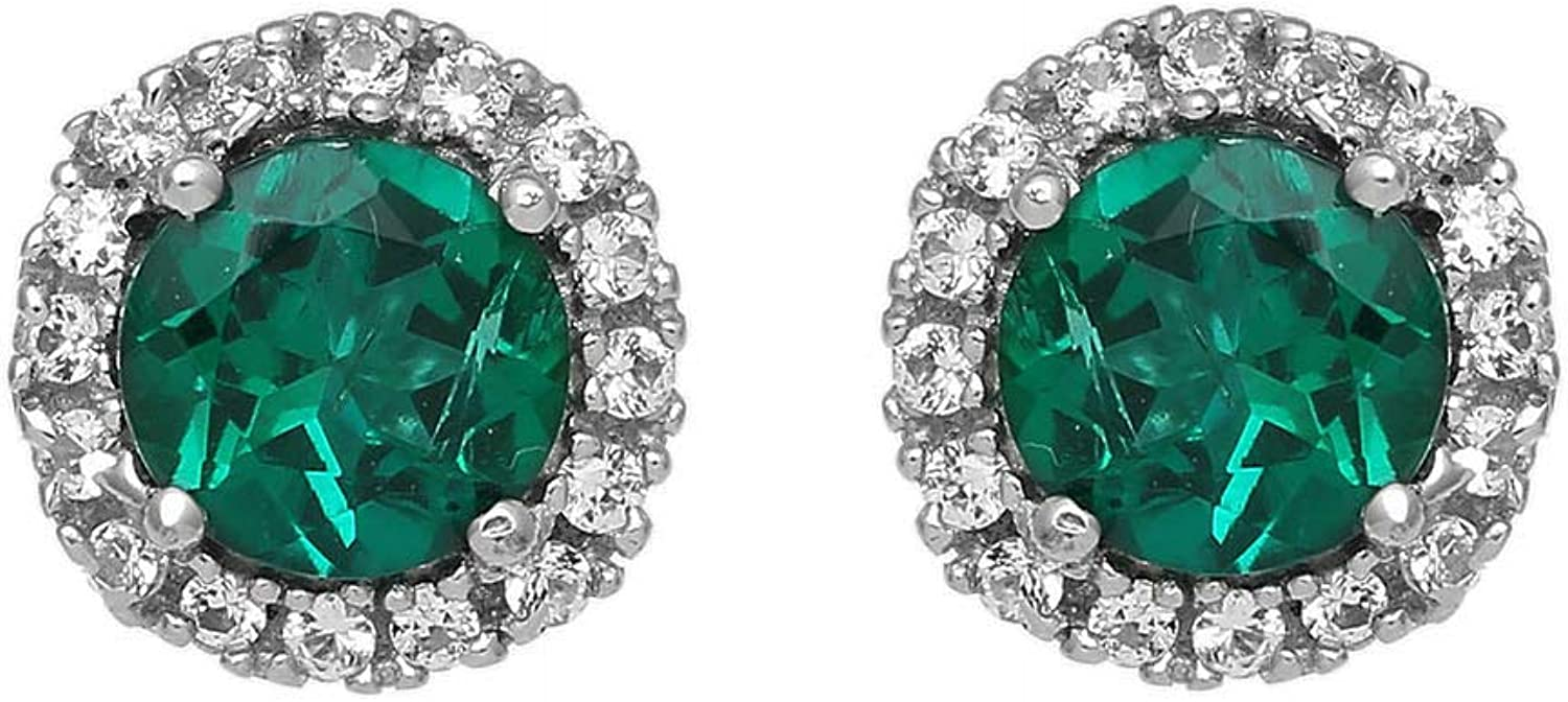 online shop Direct store Jewelili sterling silver 5mm Created Round Emerald W and