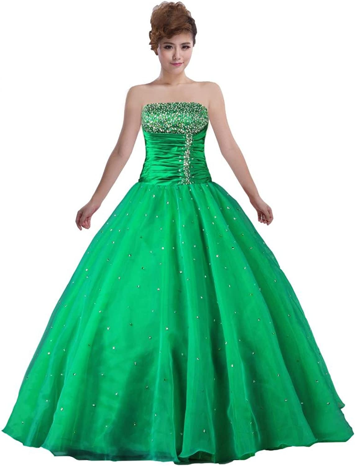ANTS Strapless Ball Gown Bead Organza Quinceanera Prom Dress