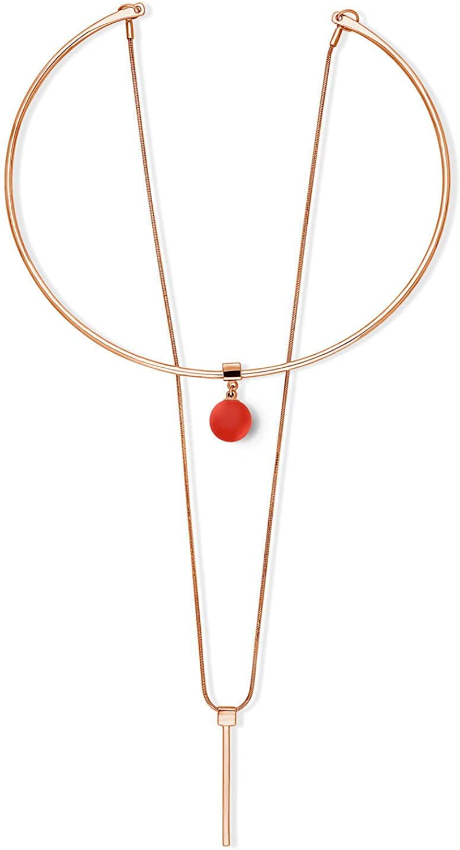 BERRICLE Rose Gold Flashed Base Metal Ball Bead Bar Fashion Layered Choker Necklace