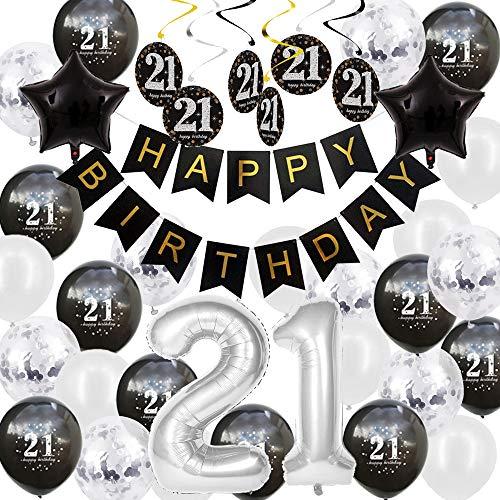 Happyhours Geburtstagsdeko 21 Geburtstag Deko Jungen Schwarz Weiß, Pompons Birthday Girlande 21 Folienballon, Latex Ballons Silber Konfetti Luftballons, Spiralen Geburtstag Deko Set