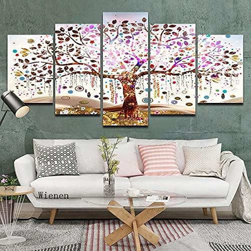 Hermoso árbol de la fortuna pintura de lienzo nórdico de cinco piezas juego de arte de la pared cartel sin marco Hd impresión de la suerte imagen decoración de la sala de estar
