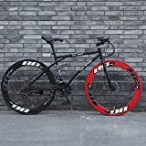 LRHD Road Bicycles, 24-Speed 26 Inch Bikes, Double Disc Brake, High Carbon Steel Frame, Road Bicycle Racing, Men's and Women Adult-Only Dual-disc Brake Bicycles (Black and Red)