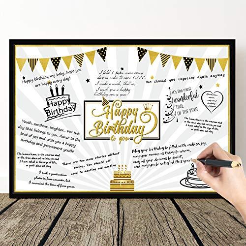 Carte d'Anniversaire Étoiles de Ballons Noirs et Or Géants Carte de Voeux Message Happy Birthday Carte de Décoration de Fête d'Anniversaire Livre d'Or Affiche de Signe Alternatif