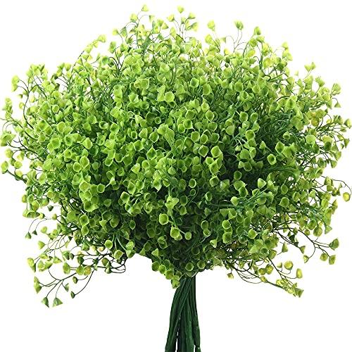 5 Bündel Künstlich Sträucher Büsche Künstlich Blumen Outdoor UV Beständig Pflanzen Blumen Dekorative Sträucher BüscheDeko Schlafzimmer Wohnzimmer Balkon Badezimmer Zimmer Tischdeko Hochzeit (Grün)