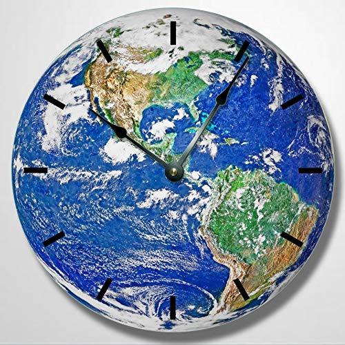 Earth Planet Muster Wanduhr Globus Uhr Wanduhr Runde Wanduhr himmlische Uhr Einzigartige Wanduhr 30,5 cm Holz Wanduhr, batteriebetrieben, Bauernhaus Wanddekoration Heimdekoration