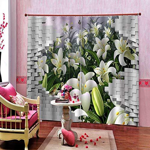 3D Isolierung Schattierung Vorhänge Ziegel Lilie 2 Panel fit Kinder Vorhänge Für Wohnzimmer Schlafzimmer Blackout Kinderzimmer Vorhänge 150x166cm