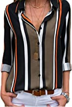 VENTELAN Womens V Neck Shirts Roll up Sleeve Button Down Blouses Lasies Chiffon Casual Striped Color Block Tops