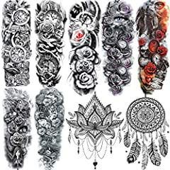 💎【9 Sheets Various Styles】3D Unique Designed by ALISA Temporary Tattoos. Every Package Includes 9 Sheets Different Patterns Rose Lily Mandala Flower Mehndi Sexy Rose Skull Wolf Tiger Totem Full Sleeve Temporary Tattoo For Women Men Adults Kids Teens ...