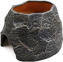 uxcell Terrarium Decorative Rock Black Ceramic Reptile Cave Shelter Hiding Spot for Lizard Snake Frogs Turtles