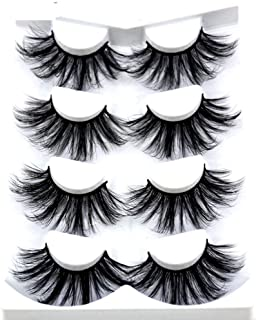 HBZGTLAD NEW 4 Pairs 3D Mink Hair False Eyelashes Criss-cross Wispy Cross Fluffy length 25mm Lashes Extension Handmade Eye Makeup Tools (MDR-1)
