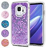 wsky für Samsung Galaxy S9 Hülle, Lila Glitter Flüssig Treibsand Handyhülle, Weich Silikon TPU Durchsichtig mit Lila Flüssig-Glitzer Schutzhülle(Lila)