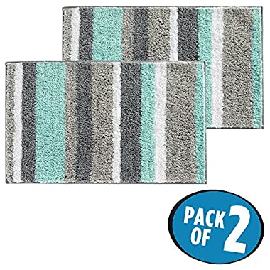 mDesign Soft Microfiber Polyester Non-Slip Rectangular Spa Mat Rugs, Plush Water Absorbent, Striped - for Bathroom Vanity, Bathtub/Shower, Machine Washable - 34  x 21  - Pack of 2, Mint Green/Gray