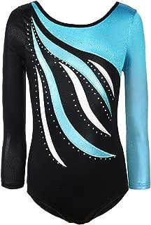 Girls Long Sleeve Shiny Waves Metallic Athletic Dance Gymnastics Leotard Outfit