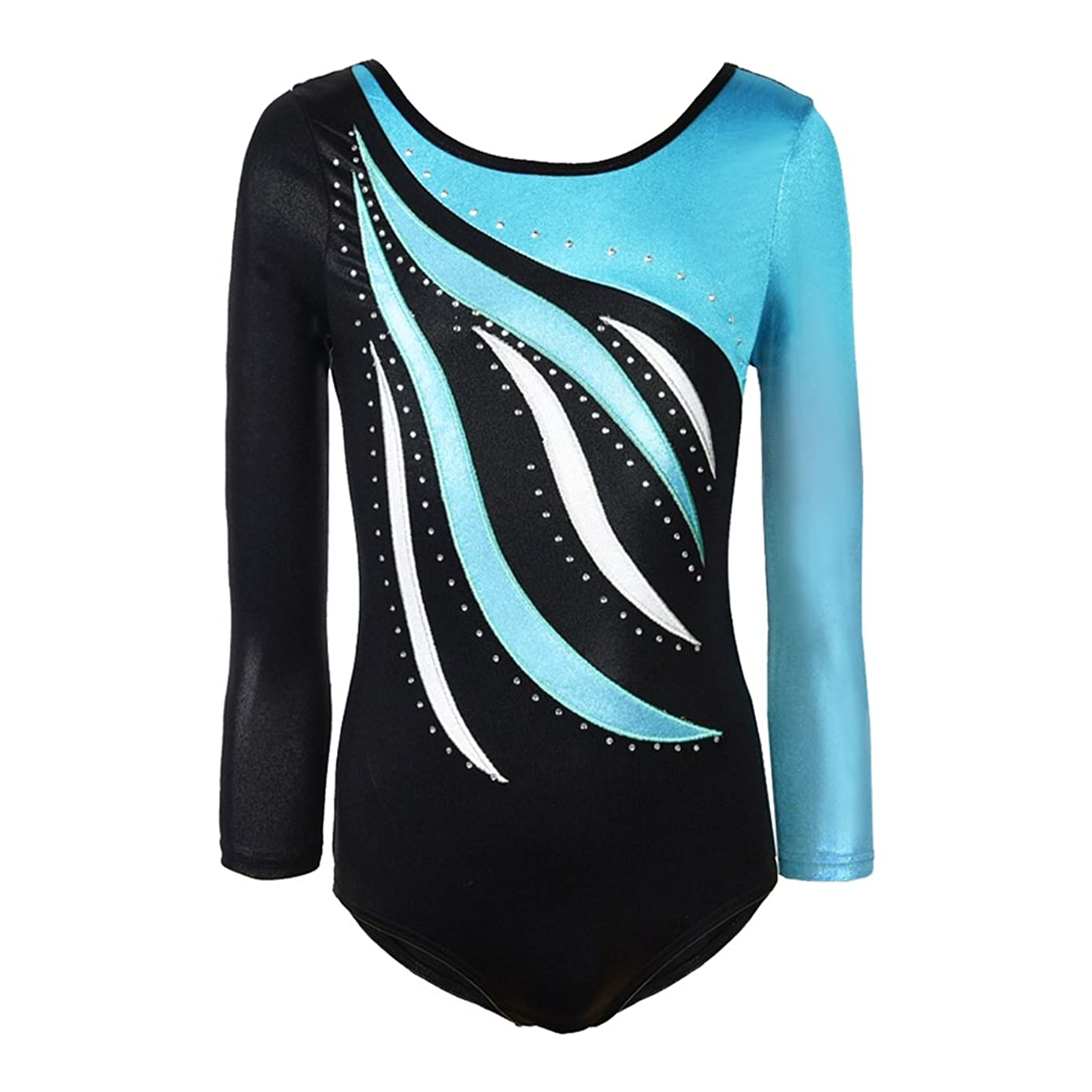 Girls Long Sleeve Shiny Waves Metallic Athletic Dance Gymnastics Leotard Outfit