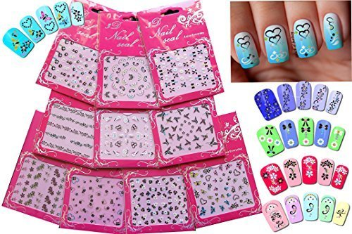 Adorable Nail Art 3D Stickers Decals With Rhinestones Variety Pack of 10 - Bows  Butterflies  Flowers  Hearts - White, Black & Rhinestone Ornaments/ FLVIII / by La Demoiselle