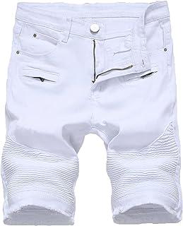 Men's Distressed Biker Jean Shorts Casual Zipper Denim Short Pants Washed Slim Fit Jeans Shorts