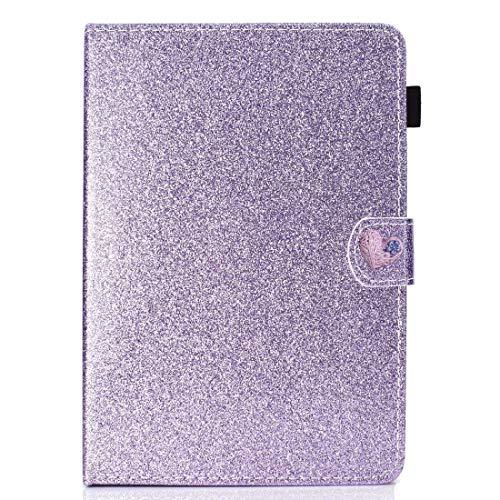 WEI RONGHUA Funda de piel con tapa horizontal para tablet de 10 pulgadas, universal, con purpurina, con hebilla de amor, horizontal, con soporte y ranuras para tarjetas, color morado