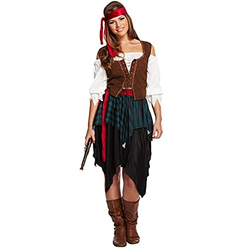 Caribbean Pirate Ladies Fancy Dress Book Week Womens Adults Costume Outfit New