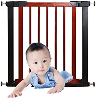Expandable Pet Safety Door Bar Baby Gates for Stairs Guardrail Solid Wood Free Punching Dual Lock Self Closing