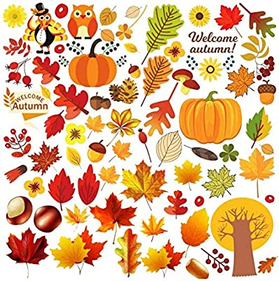 Beslop Thanksgiving Window Clings Fall Window Stickers Decals Featuring Turkey Fall Maple Leaves Pumpkin Acorn Cornucopia Indian Corn for Autumn Harvest Festival Seasonal Decorations