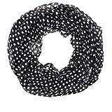 AdoniaMode Damen Loop Schlauch-Schal Hals-Tuch Punkte Pünktchen Luftig Leicht 101-01 Schwarz, weiße Punkte