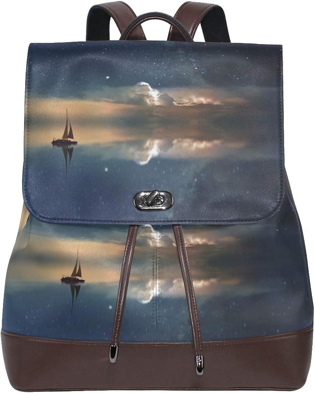 FAJRO Ocean Galaxy Travel Backpack Leather Handbag School Pack