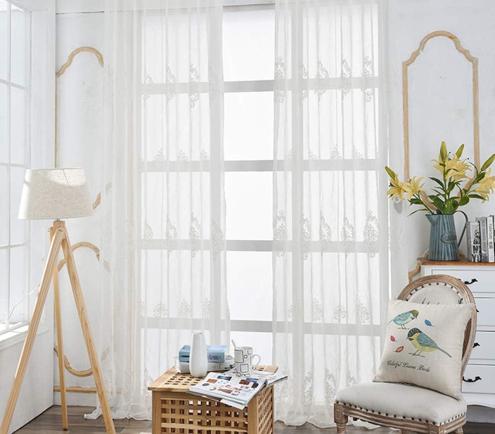HooHero Mesa Mall European Style White Sheer Rod Clearance SALE Limited time Curtains Fl Pocket Window