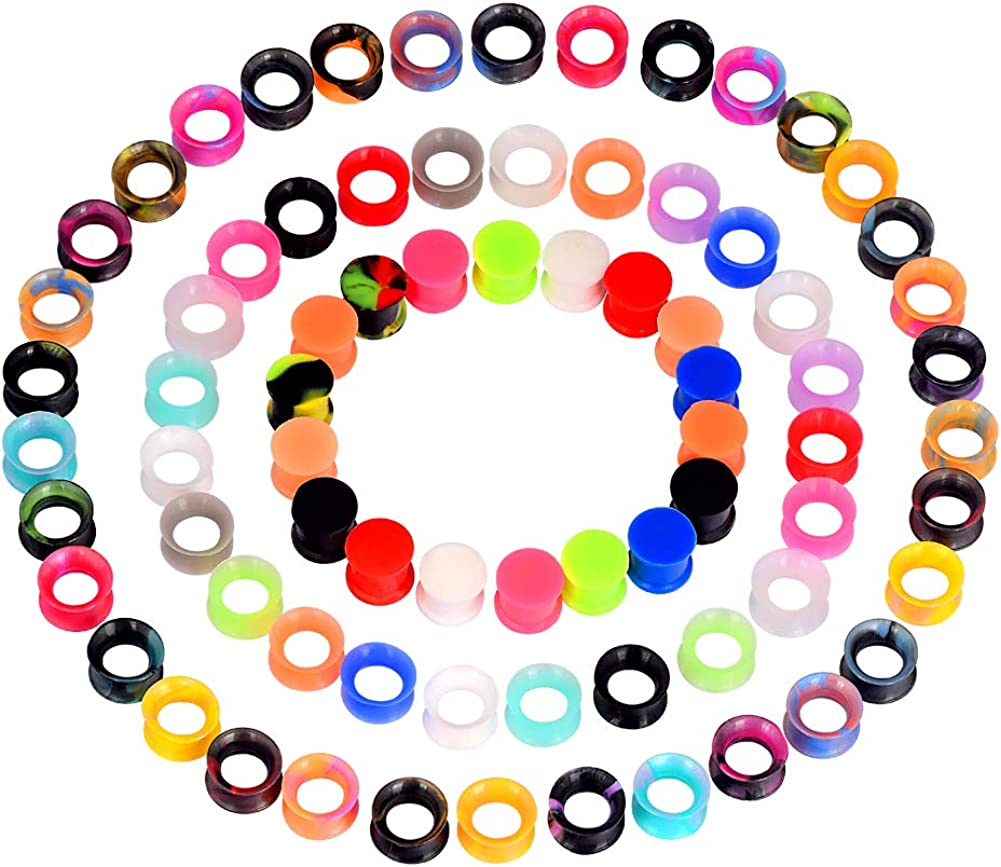 Oyaface 76pcs/36Pcs Extra Soft Silicone Ear Gauges Flesh Tunnels Plugs Stretchers Expander Ear Piercing Jewelry 2g-3/4 Mixed Color Set