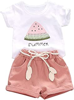 Toddler Baby Girls Clothes Watermelon T-Shirt + Linen Shorts with Belt Cute Summer Short Set 1-4 Years Old