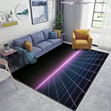 Retro Sci Fi Futuristic Grid Landscape of The 80`s Cyber Surface Area Rugs Floor Mat Non Slip Throw Rugs Soft Door Mat Nursery Carpet for Living Room Home Indoor Outdoor Runner Rugs Yoga Mat