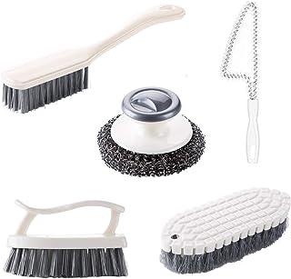 HENSHOW Juego de Cepillos de Limpieza de 5 Piezas, 4 Diferente Cepillos de Limpieza para Baño, Cocina, Zapatos, y Puertas Correderas y Ventanas, y Uno Bola de Acero Cepillo de Lavar Platos