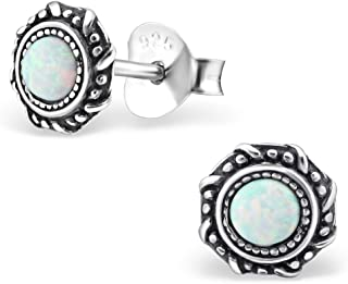 Small Round Blue Synthetic Opal Silver Earrings Vintage Antique Style Stering Silver 925 Post Studs (E23674)