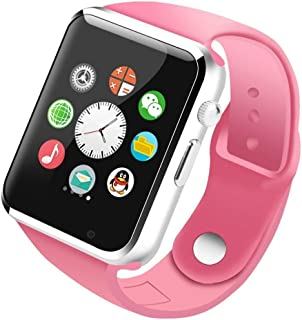 Mobielectrocart A1 Smart Watch Bluetooth Smartwatch Compatible with All Mobile Phones for Boys and Girls - Pink