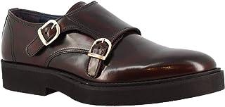 Leonardo Shoes Zapatos Formales Hechos a Mano con Doble Monje para Hombre en Piel de Becerro Color Burdeos - Número de Mod...