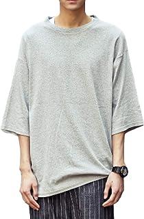 Tシャツ メンズ 七分袖 無地 カットソー 夏服 大きいサイズ クルーネック コットン ゆったり 柔らかい 快適な おしゃれ カジュアル 春夏 秋 AINOR
