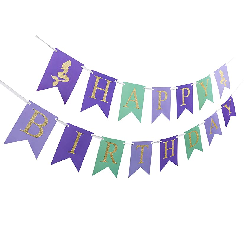 Mermaid Happy Birthday Banner Pennant,Golden Glitter Under The Sea Banner for Baby Boy Girl Birthday Party Decoration (Golden)