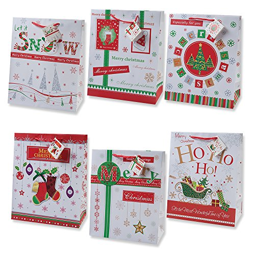 12 Christmas Large Gift Bags Bulk Assortment with Handles and Tags for Wrapping Holiday Gifts