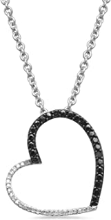 Sterling Silver 1/10 cttw Round Black and White Diamond Heart Pendant Necklace, 18