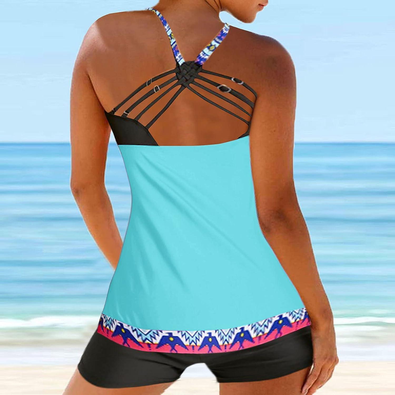 AODONG Womens Swimsuits for Women Two Piece Bathing Suits Tummy Control Swimwear Modest Print Bikini Ring Top