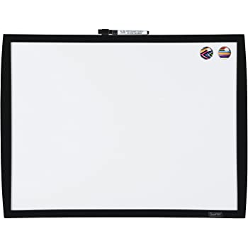 "Quartet Magnetic Whiteboard, 17"" x 23"" Small White Board for Wall, Dry Erase Board for Kids, Perfect for Home Office & Home School Supplies, 1 Mini Dry Erase Marker, 2 Magnets, Black Frame (34608-BK)"
